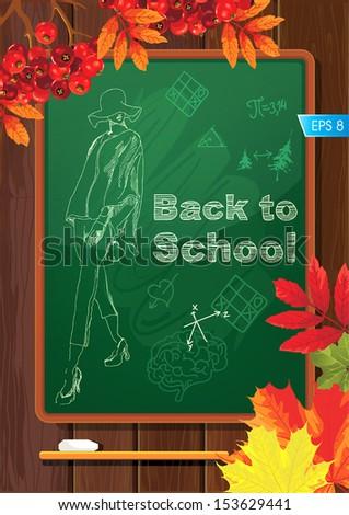 Vector School sketches on blackboard - stock vector