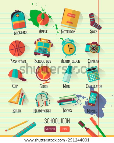 Vector school workspace illustration on line notebook paper. Education school icons set. Flat style, long shadows. High school object college items. Back to school creative card with teenager objects - stock vector