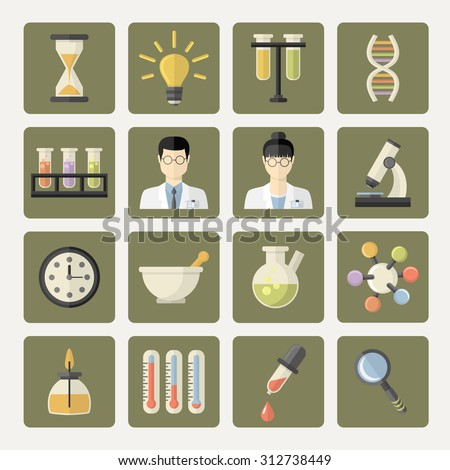 Vector Science and research Web Icons.Chemistry industry for learning and web applications.Flat design.Hourglass,lamp,DNA,scientists,professors,thermometer,burner,watches, pestle,pipette - stock vector