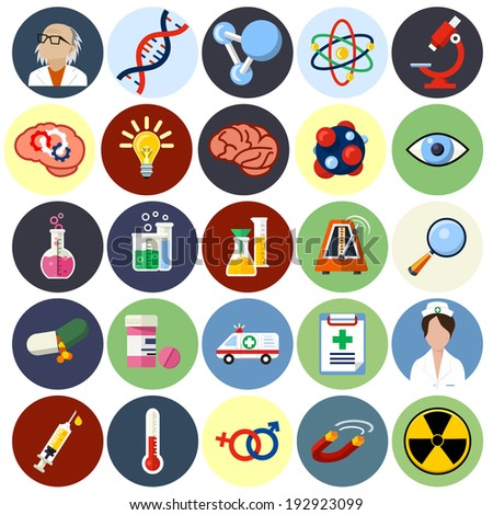 Vector Science Flat Icons - Biotechnology  - stock vector