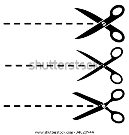 Vector scissors cut lines - stock vector