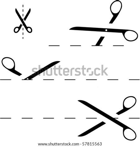 Vector scissors with cut lines - stock vector