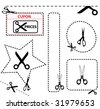 vector scissors with cut lines templates to choose from - stock