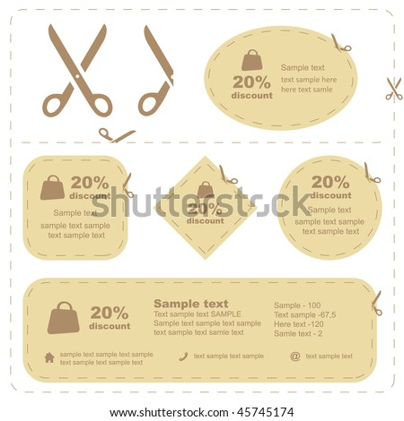 Vector scissors with cut lines templates to choose from - stock vector
