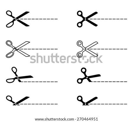 Vector scissors with cut lines. Vector set of cutting scissors - stock vector