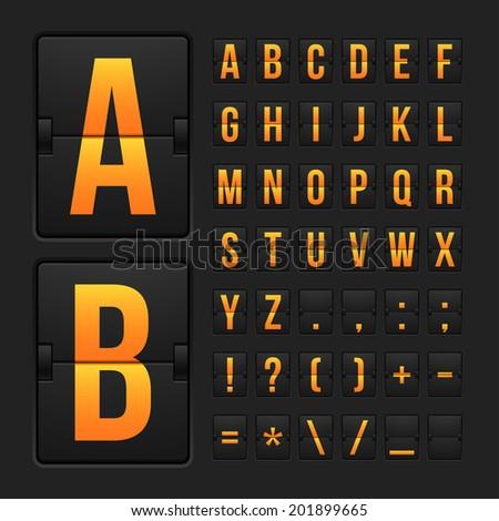Vector scoreboard letters and symbols alphabet mechanical panel - stock vector