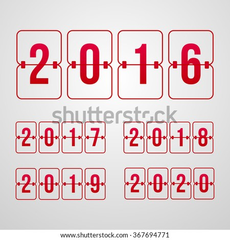 vector Scoreboard 2016, 2017, 2018, 2019, 2020 year red flip symbols isolated