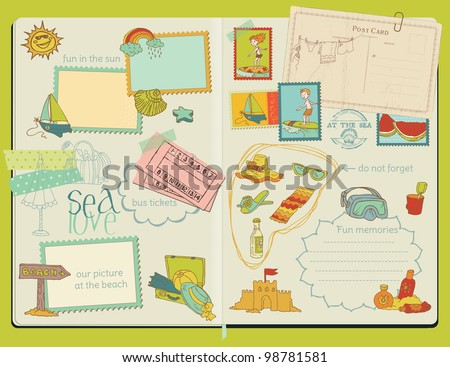 Vector Scrapbook Design Elements - Summer Beach Set - hand drawn in notepad - stock vector