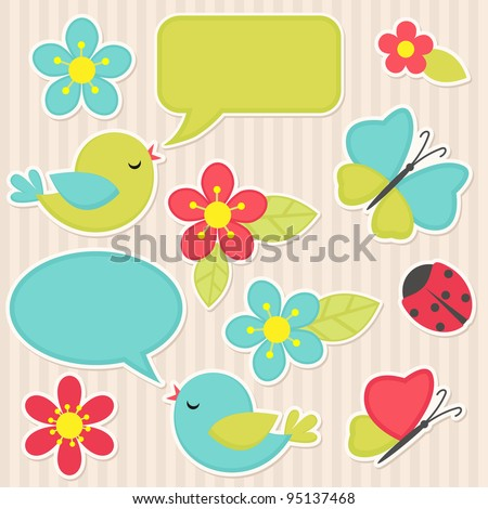 Vector scrapbook elements - flowers and birds - stock vector