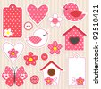 Vector scrapbook elements - love set - stock vector