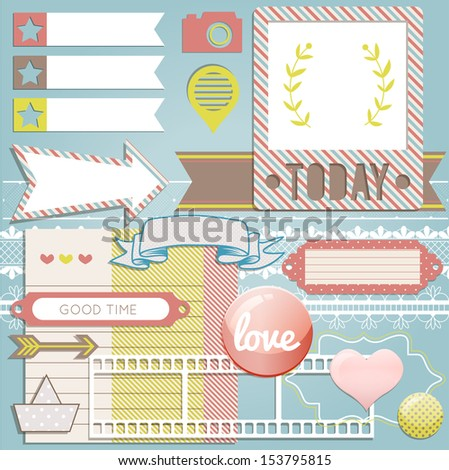 Vector scrapbook elements: photo frame, ribbon, button and tag collection for your design or scrapbook - stock vector