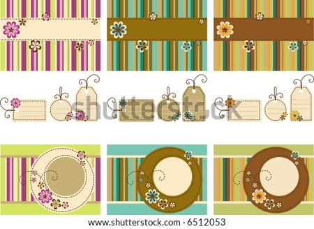 Vector Scrapbook set - frames, tag and background  featuring stylized flowers - stock vector
