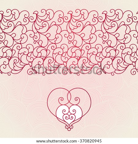 Vector scroll work seamless border in Eastern style. Mono line element for design. Ornamental vintage frame for invitation, greeting card, Valentine's card. Traditional red decor with ornate heart. - stock vector