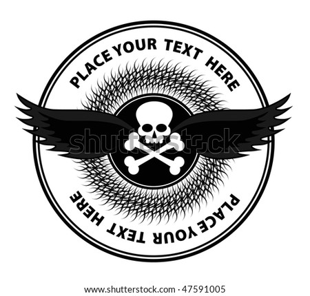 vector scull in template of label - stock vector