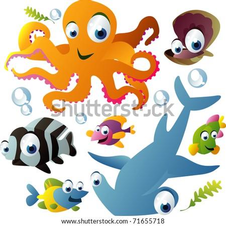 vector sea animals - stock vector