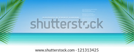 Vector sea background with palm tree leaves. . - stock vector