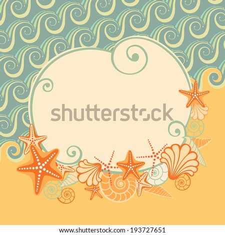 Vector sea beach background  with banner. Vintage illustration for print, web - stock vector