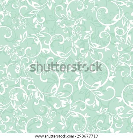 Vector Sea Green Swirly Braches Seamless Pattern - stock vector