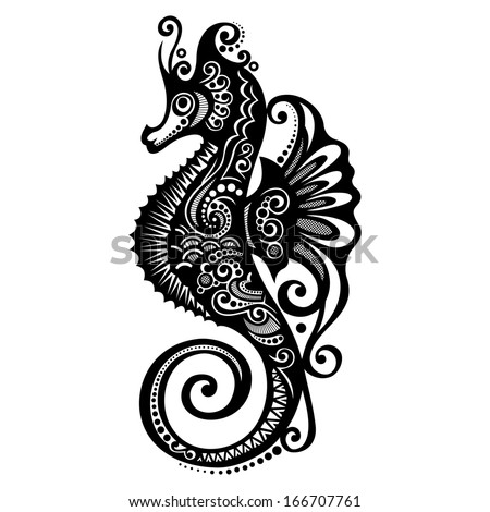 Vector Sea Horse. Patterned design - stock vector