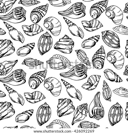 Vector sea pattern. Summer background with shell elements. Repeating print background texture.