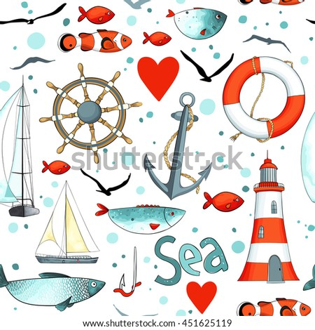 Vector sea pattern with nautical elements on white background. There are lighthouse, seagulls, sail boat, life buoy, fish, wheel and anchor. Imitation of watercolor. - stock vector