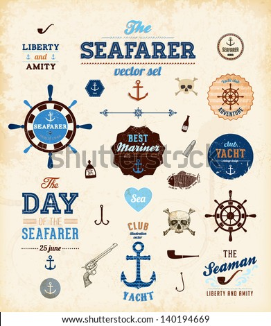 Vector sea set: calligraphic retro design elements and page decoration, Seafarer with Shipbuilder Label collection, anchors and skulls. All for vintage design. - stock vector