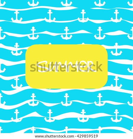 Vector sea style background with anchors - stock vector