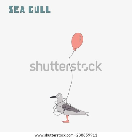 Vector seagull (Can be used as picture for cards, invitations, DIY projects, web sites or for any other design)  - stock vector