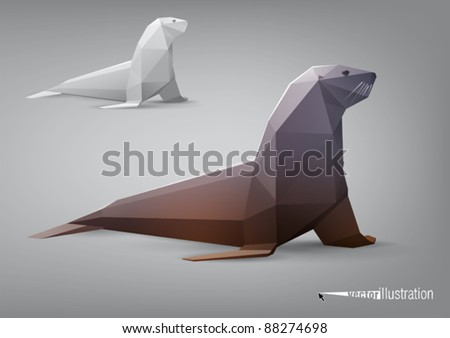 Vector seal stylized triangle polygonal model - stock vector