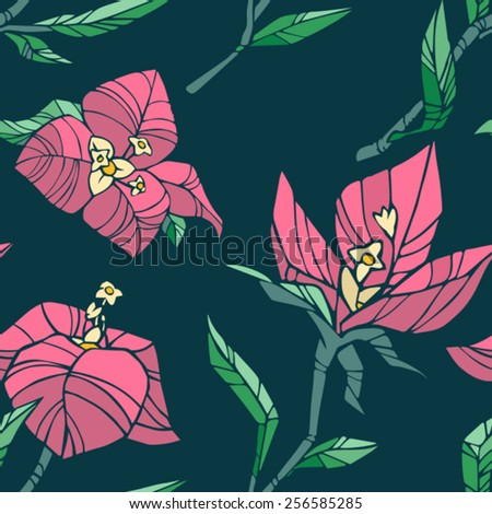 vector seamles floral pattern - stock vector
