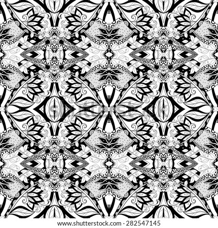 Vector Seamless Abstract Black and White Tribal Pattern. Hand Drawn Ethnic Texture, Flight of Imagination