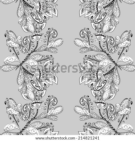 vector seamless abstract floral pattern, monochrome,