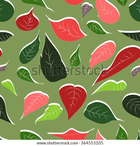 Vector seamless abstract hand-drawn pattern of leaves and flowers plant red poinsettia (Christmas flower). EPS10. - stock vector