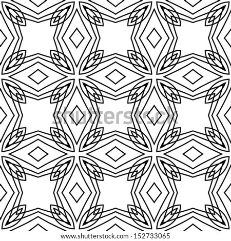 vector seamless abstract line floral pattern background  - stock vector
