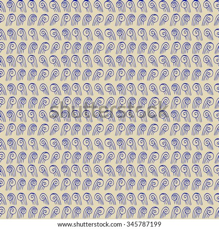 Vector seamless abstract pattern,  doodle waves, hand draw - stock vector