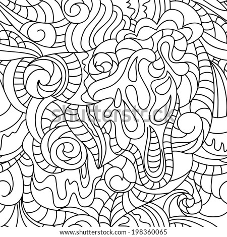 Vector seamless abstract pattern with floral motif.  Background in white and black colors. Hand drawing