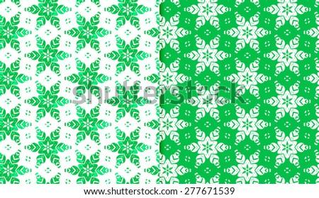 Vector Seamless Abstract Snowflake Pattern Set - stock vector