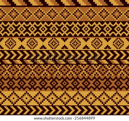 vector seamless african pattern with geometric elements - stock vector