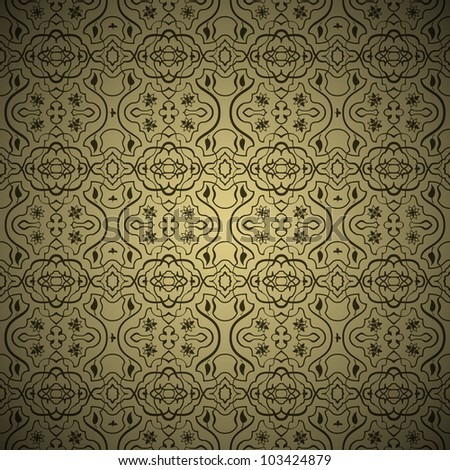 Vector Seamless arabic background pattern. Gold and Black