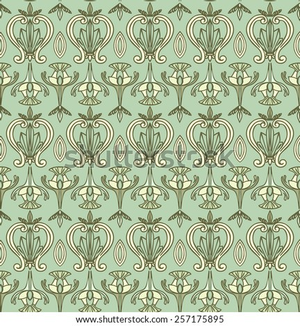 Vector Seamless Art Nouveau Pattern. Vintage wallpaper - stock vector