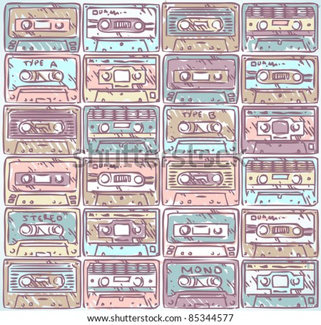 vector seamless audio tape doodle pattern - stock vector