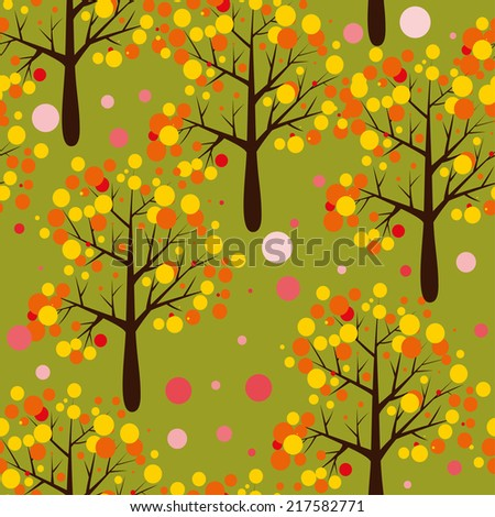 Vector seamless autumn pattern with trees - stock vector