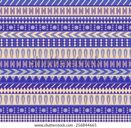 vector seamless aztec pattern in blue color scheme