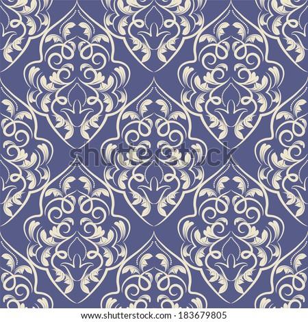 vector seamless backdrop. damask pattern. flower wallpaper - stock vector