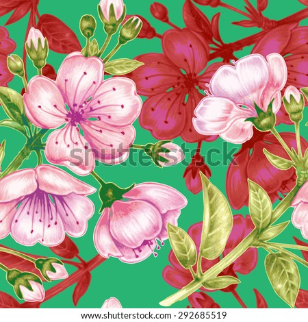 Vector seamless background. A branch of cherry blossoms. Design for fabrics, textiles, paper, wallpaper, web. Floral ornament. - stock vector