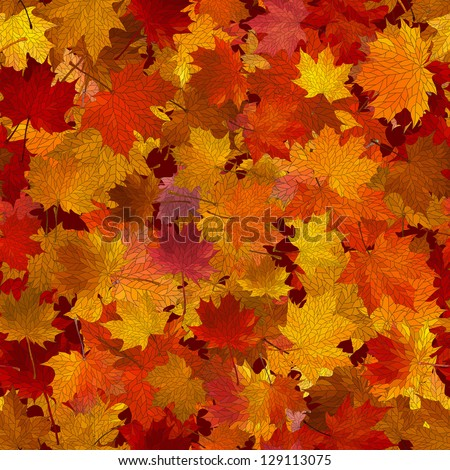 Vector seamless background: a lot of maple autumn leaves on the ground.