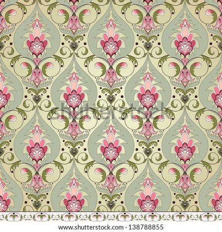 Vector seamless background  and border.  Vintage oriental pattern - stock vector