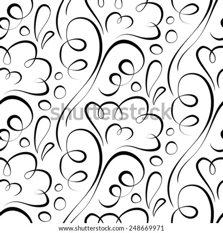 Vector seamless background. Backdrop. black floral pattern on a white - stock vector