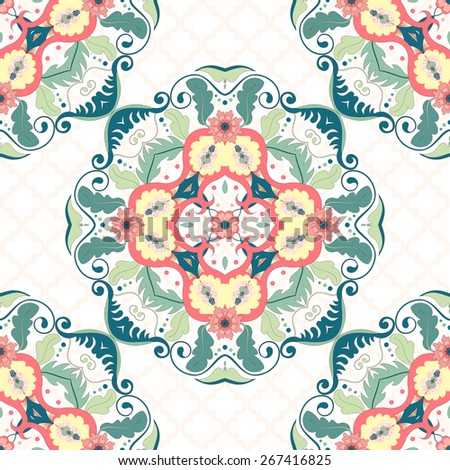Vector seamless background. Beautiful floral pattern in modern style and moroccan tiles ornament.
