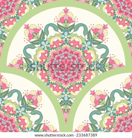 Vector seamless background. Beautiful oriental floral pattern consists of a round elements. Delicate green and pink. - stock vector